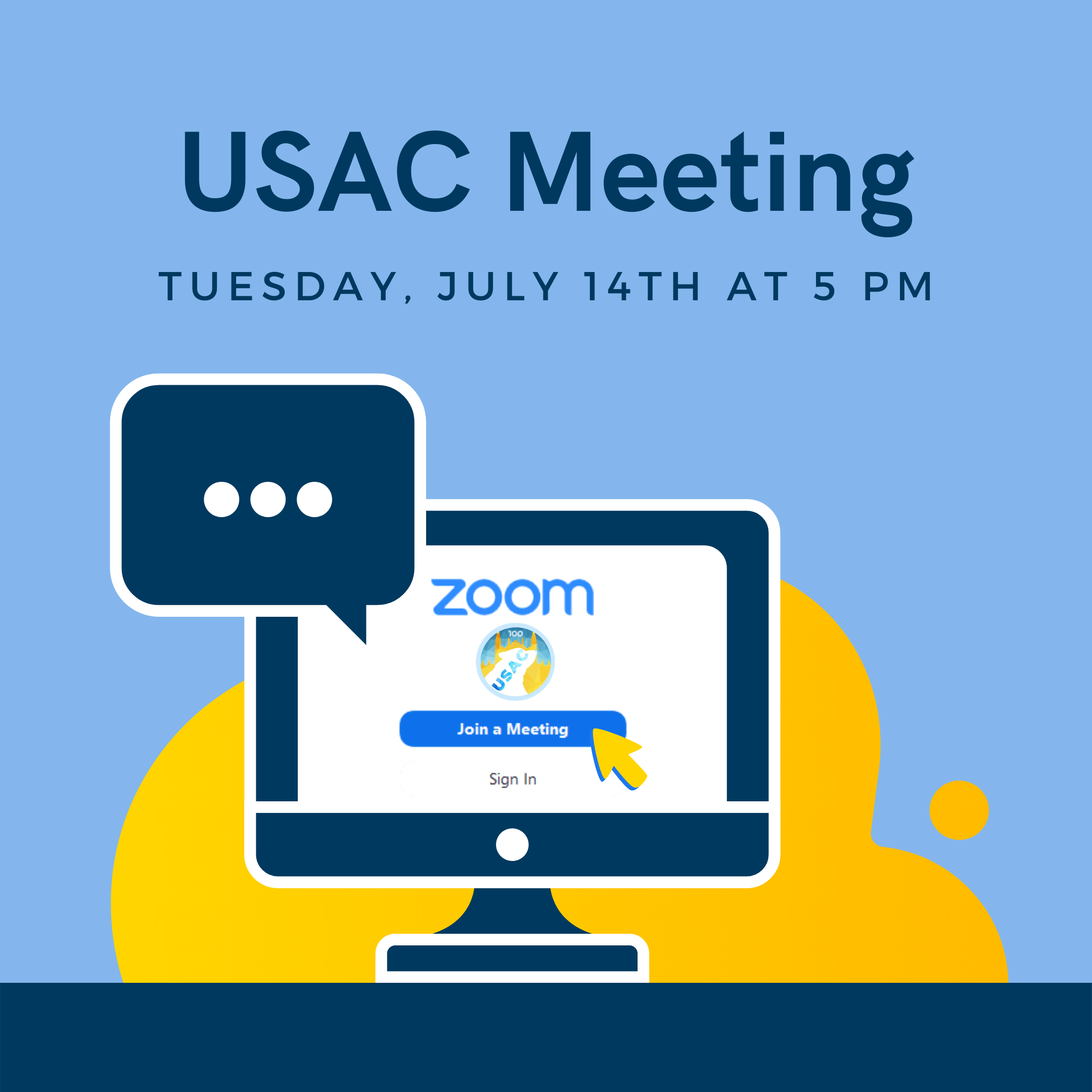 USAC Meeting on Tuesday, July 14th at 5:00 PM PST