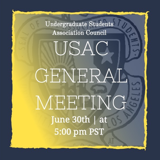 USAC General Meeting on June 30th at 5:00 PM PST